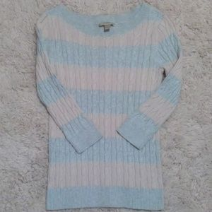 Pastel Pink Cable Knit Ann Taylor Loft Sweater M